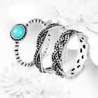 925 Sterling Silver Turquoise Bridal Engagement Accessories Ring Set Size 6-10