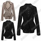 New Ladies Dotted Laser Cut Long Sleeve Peplum Blazer One Button Flared Coat Top