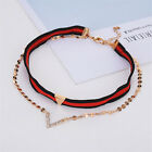 Women Alloy Chic Crystal Double Layer Chokers Collar Necklaces Chain Gifts
