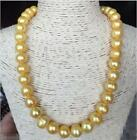 18'' HUGE SOUTH SEA 12MM GOLD BAROQUE PEARL NECKLCE 14K GOLD CLASP