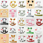 Animal Set Zoo Headband Ears Bow Tie Tail Costume Fancy Dress Kit Child Adults