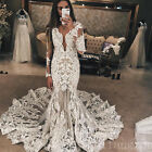 Wedding Dresses Embroidery Lace Bridal Gowns Long Sleeves Mermaid Plus Size New