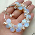 """Fire Opal and Fresh Water Pearl Cluster Bracele 7.5"""" +Extended chain"""