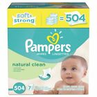 Pampers Natural Clean Baby Wipes, Unscented, White, Cotton, 504/Carton - PGC ...