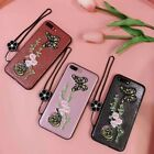Luxury 3D Glitter Powder Case for iPhone 6 7 + Embroidery Butterfly Cover Strap
