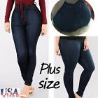 Women Stretch Casual Denim Skinny Jegging Pants High Waist Plus Size Trousers US