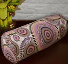 af257g Grey Coral Pink Dot Cotton Canvas Yoga Bolster Cushion Cover Custom Size
