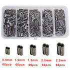 300pcs Fishing Single Double Barrel Crimping Sleeves Tackle Connector 0.8-4.2mm