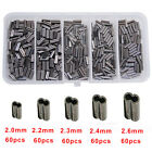 300pcs/box Double Barrel Crimping Sleeves Copper Tube Tackle Connector 0.8-2.6mm