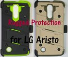 Rugged Hybrid Case, Holster, Tempered Glass Screen Protector for LG Aristo
