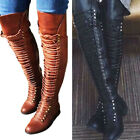 Womens Ladies Boots Thigh High Over Knee Stiletto Heel Lace Up Shoes Plus Size
