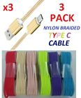 3x Nylon Braided Rope USB Type-C USB-C Sync Data Charger Charging Cable Cord