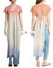 FREE PEOPLE Sz S+M Linen Blend Double Dip Tunic New Tags tg