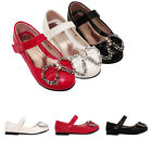 GIRLS KIDS CHILDREN RED BLACK WHITE BRIDESMAID PARTY LOW HEEL SHOES SIZE 7-3