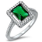 Sterling Silver CZ Green Emerald Women's Fashion Engagement Ring Size 5-9