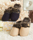 Women Memory Foam Slippers with Faux Fur Cuffs Polyester and Rubberized Plastic