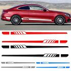 2X Car Side Stickers Body Decals Sticker Long Stripes for Mercedes Benz C Racing