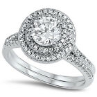 Sterling Silver .925 CZ Halo Women's Round Engagement Ring Wedding Set Size 5-9