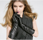 """40cm(15.7"""") long real fashion qulaity sheep leather evening gloves in black"""