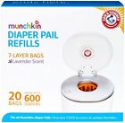 Munchkin Arm & Hammer Diaper Pail Snap,  Seal and Toss Refill Bags,  20 Bags,