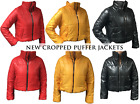 Womens Quilted Puffer Cropped Padded Puffa Ladies Bubble Zip Coat Jacket