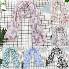 Women Lady Long Fashion Shawl Satin-Silk Square Scarf Scarves Printed Butterfly
