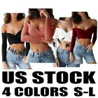 Sexy Women Cross Bandage Top Off Shoulder Tee Long Sleeve Blouse T-Shirt Casual