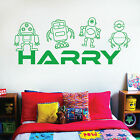 [WD101047] Personalised Name Children Wall Art Sticker - Toy Robots
