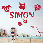 [WD101042] Personalised Name Wall Art Sticker - Happy Cartoon Monsters