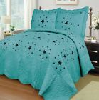 Fancy Linen 3pc Turquoise Star Bedspread Quilt Set Embroider