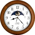 "14"" OAK Wood Non-ticking Sweep Mechanical Moon Phase Moving Dial Wall Clock Gift"