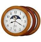 14 OAK Wood Non-ticking Sweep Mechanical Moon Phase Moving Dial Wall Clock Gift