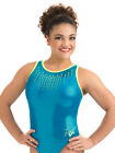 NWT GK Laurie Hernandez Glo Girl Leotard Size AXS, AS OR AM Retail $59.99 E3516