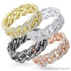 Cuban Curb Link Chain CZ Crystal Pave Ring 925 Sterling Silver Eternity Band