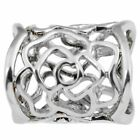 Hollow Rose Scarf Ring Buckle Slide Tube Scarf Jewelry Silver R1P5