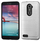 For ZTE Zmax Pro Brushed Hybrid Impact Protector Case w/Carbon Fiber Accent