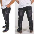 Skylinewears Mens Black Bottom Jeans with Destroyed Broken Zip Black Pants