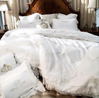 Queen & King Size White Lace Luxury Egyptian Cotton Duvet Cover Bedding Set