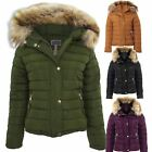 Womens Padded Detachable Fur Lined Hood Popper Zipper Puffer Jacket Coat
