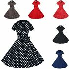 Women Housewife Vintage Retro Swing 50s 60s Rockabilly Pinup Lapel Collar Dress