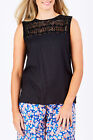 NEW Rasaleela Womens Blouses Sadie Crochet Top Black