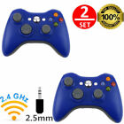 2 LOT BLUE Wireless Game Remote Controller for Microsoft Xbox 360 CONSLE