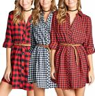 3/4 Rolled Up Plaid Cotton Flannel Button Down Belted Tunic Shirt Dress S ~ L