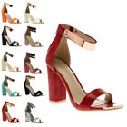 NEW WOMENS ANKLE FASTENED LADIES STRAPPY PARTY BLOCK HEEL SANDAL SHOES SIZE 3-8
