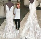 Champagne Nude Bride Gowns Wedding Dresses Mermaid Sleeveless V Neck Lace Button