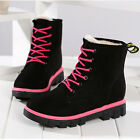 Womens Winter Suede Ankle Snow Boots With velvet Warm Flats Lace up Casual Shoes