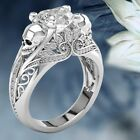 Hot Fashion Women White Sapphire 925 Silver Skull Hollow Wedding Engagement Ring