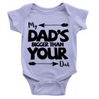 My Dad's Bigger... Babygrow Funny Gym Workout New Born Baby Gift Present