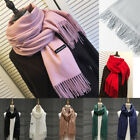 Women Oversized Cashmere Wool Solid Pashmina Scarf Wraps Warm Blanket Scarves