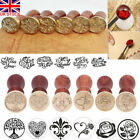 UK Brass Head Wooden Handle Flower Sweet Words Wax Seal Stamp Invite Letter Card